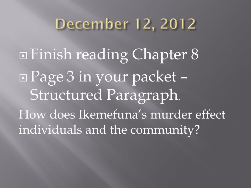  Finish reading Chapter 8  Page 3 in your packet – Structured Paragraph.