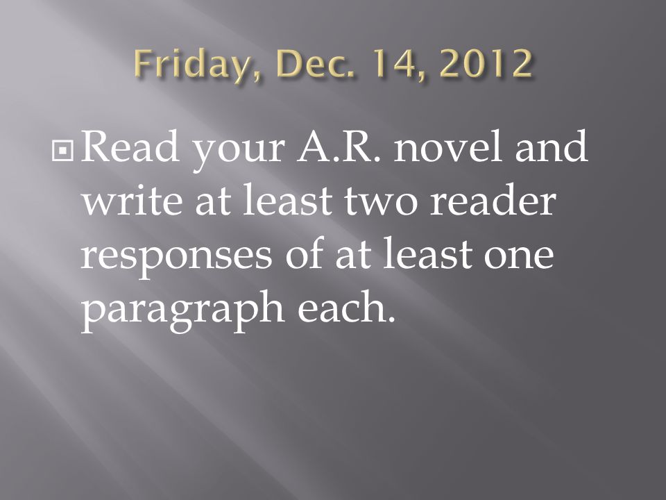  Read your A.R. novel and write at least two reader responses of at least one paragraph each.