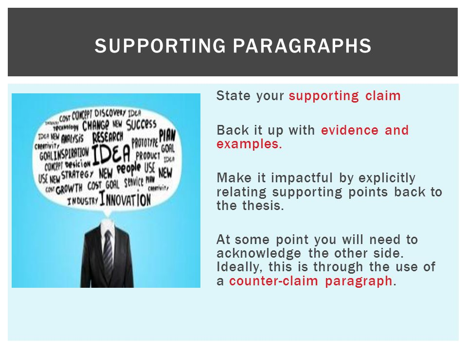 State your supporting claim Back it up with evidence and examples. Make it impactful by explicitly relating supporting points back to the thesis. At s