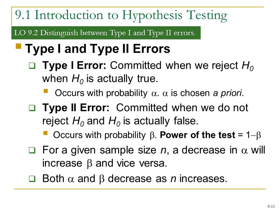 9-13 9.1 Introduction to Hypothesis Testing LO 9.2 Distinguish between Type I and Type II errors.  Type I and Type II Errors  Type I Error: Committe
