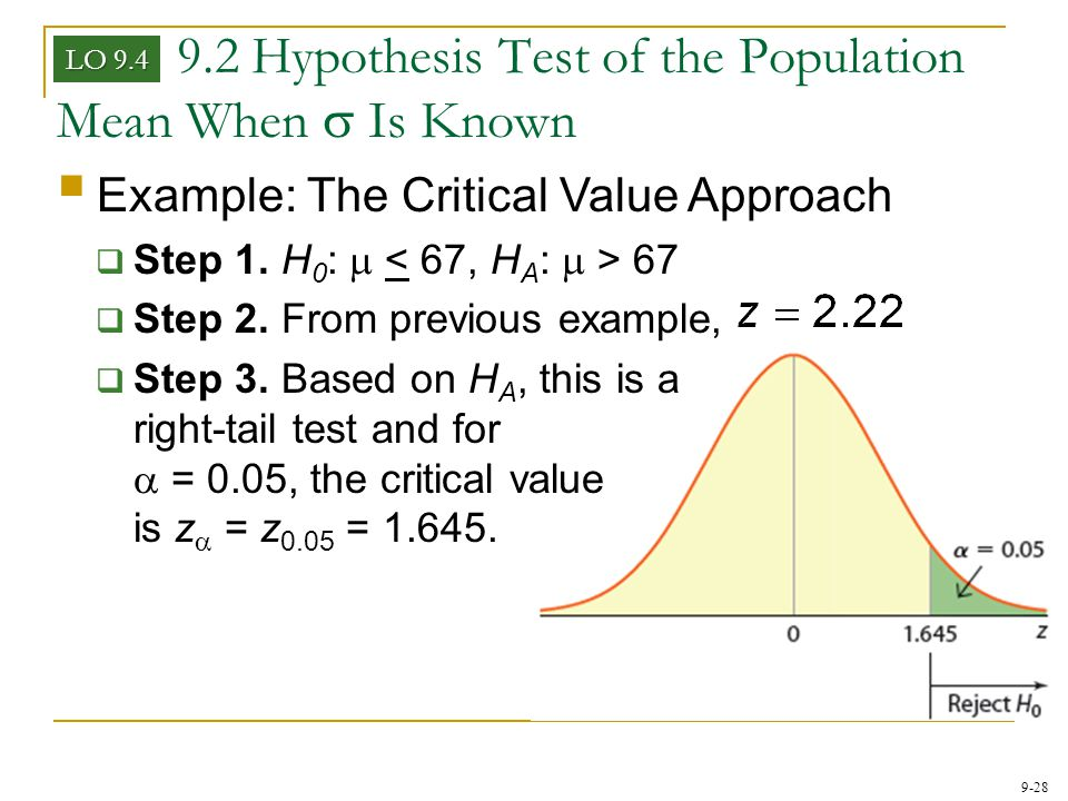 9-28 9.2 Hypothesis Test of the Population Mean When  Is Known LO 9.4  Example: The Critical Value Approach  Step 1. H 0 :  67  Step 2. From prev