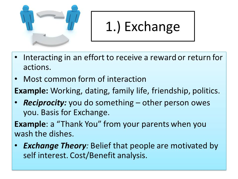 1.) Exchange Interacting in an effort to receive a reward or return for actions.