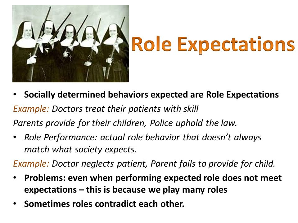 Socially determined behaviors expected are Role Expectations Example: Doctors treat their patients with skill Parents provide for their children, Police uphold the law.