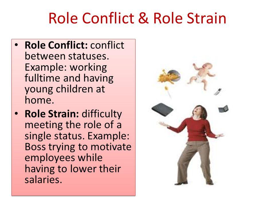 Role Conflict & Role Strain Role Conflict: conflict between statuses.