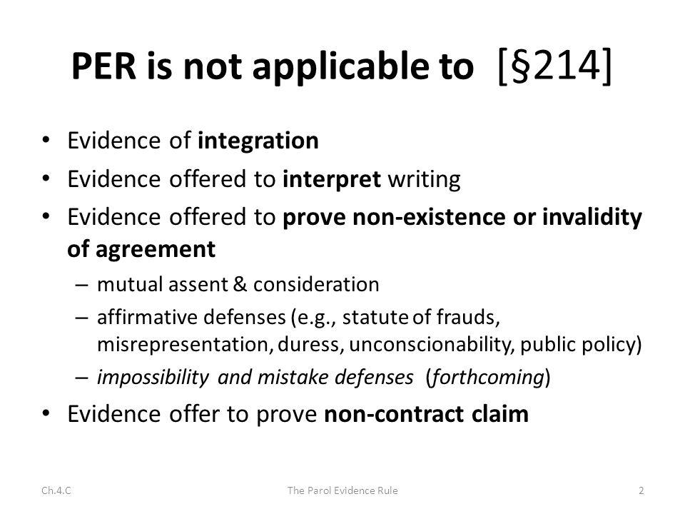 Is Parol Evidence Admissible.
