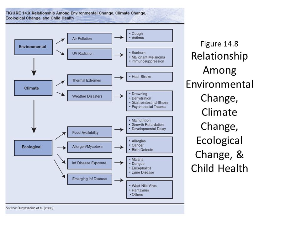 Figure 14.8 Relationship Among Environmental Change, Climate Change, Ecological Change, & Child Health