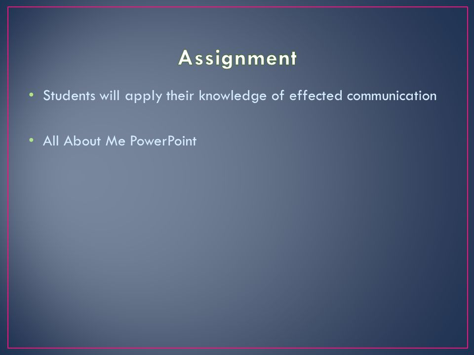 Students will apply their knowledge of effected communication All About Me PowerPoint