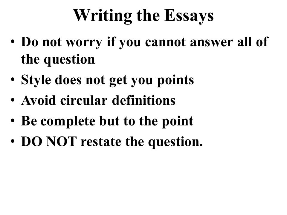 Writing the Essays Introductions and conclusions are NOT needed.