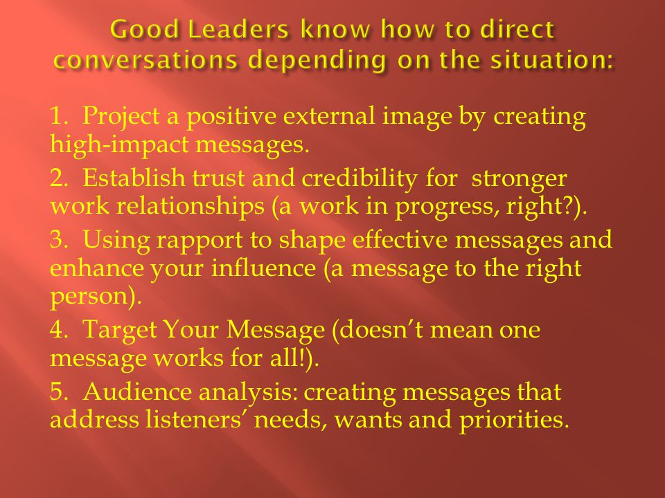 1. Project a positive external image by creating high-impact messages.