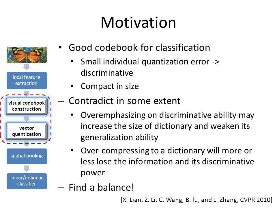 Motivation local feature extraction visual codebook construction vector quantization spatial pooling linear/nolinear classifier Good codebook for classification Small individual quantization error -> discriminative Compact in size – Contradict in some extent Overemphasizing on discriminative ability may increase the size of dictionary and weaken its generalization ability Over-compressing to a dictionary will more or less lose the information and its discriminative power – Find a balance.