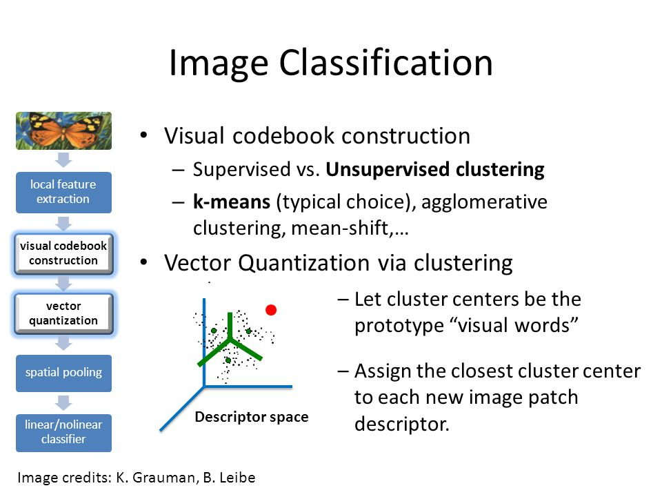 Image Classification local feature extraction visual codebook construction vector quantization spatial pooling linear/nolinear classifier Bags of visual words Represent entire image based on its distribution (histogram) of word occurrences.