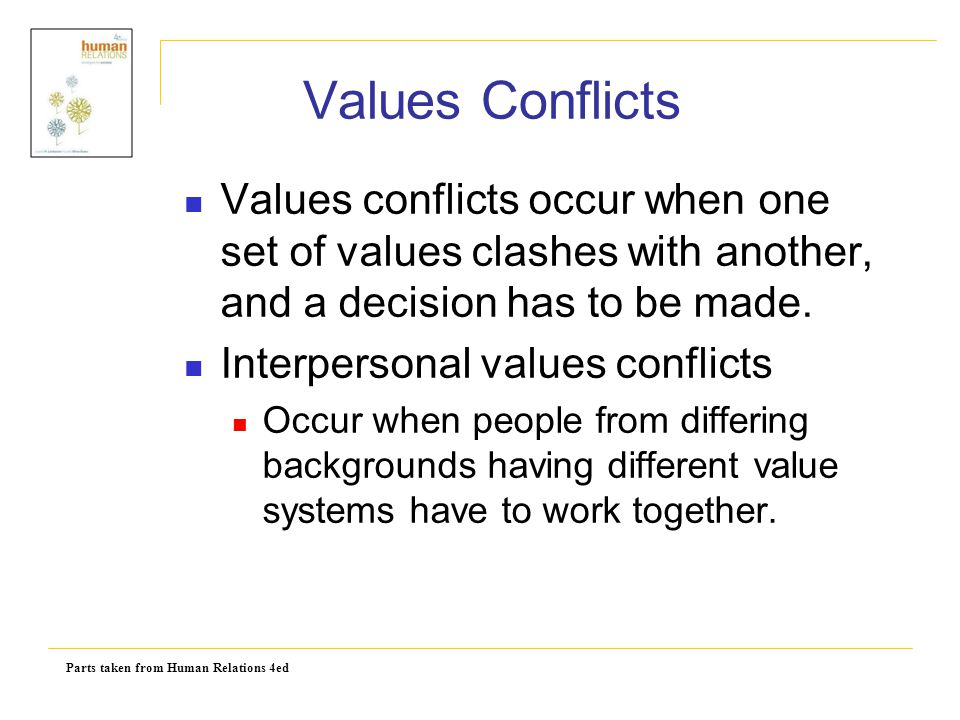 Parts taken from Human Relations 4ed Values Conflicts Values conflicts occur when one set of values clashes with another, and a decision has to be mad