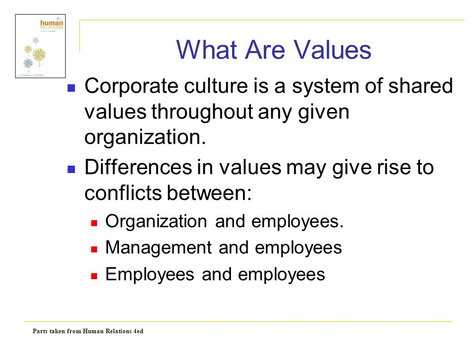 Parts taken from Human Relations 4ed Values Versus Attitudes Attitudes are affected by values.