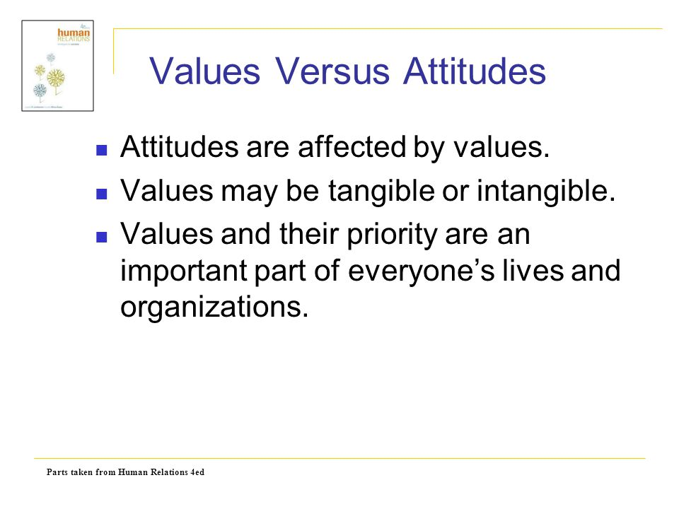 Parts taken from Human Relations 4ed Values Versus Attitudes Attitudes are affected by values. Values may be tangible or intangible. Values and their