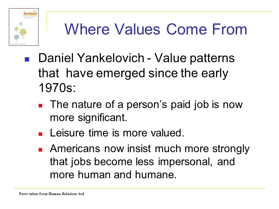 Parts taken from Human Relations 4ed Where Values Come From Daniel Yankelovich - Value patterns that have emerged since the early 1970s: The nature of