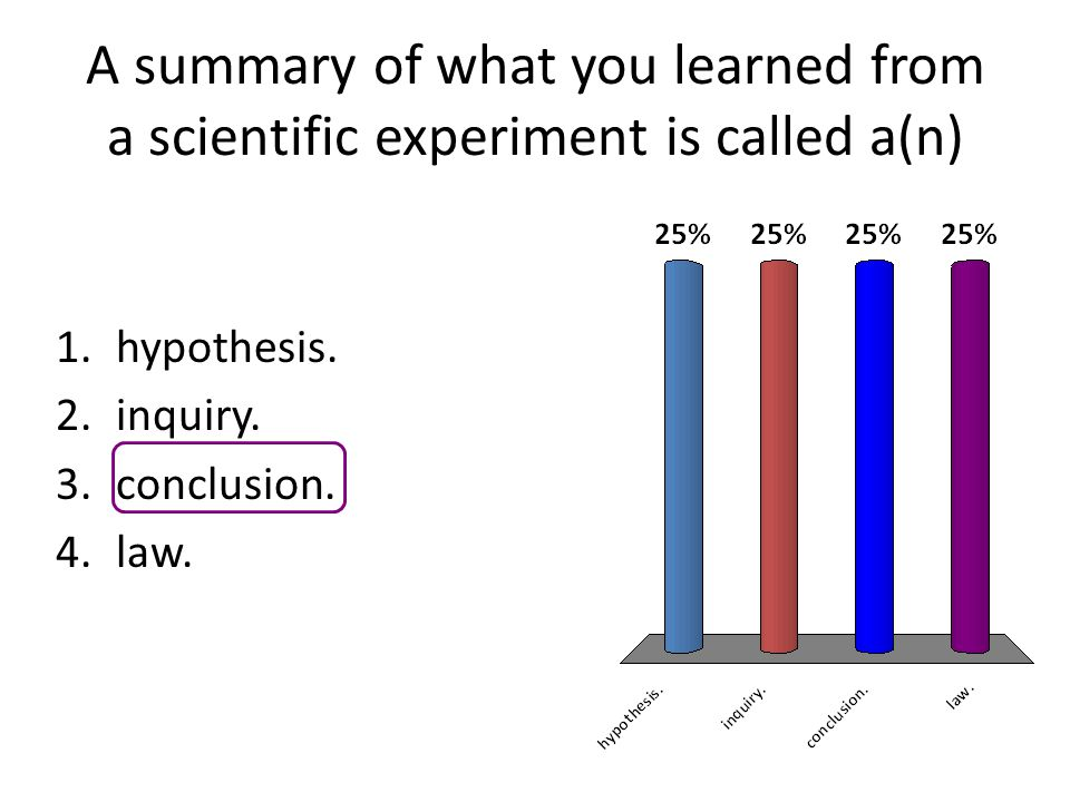 A summary of what you learned from a scientific experiment is called a(n) 1.hypothesis. 2.inquiry. 3.conclusion. 4.law.