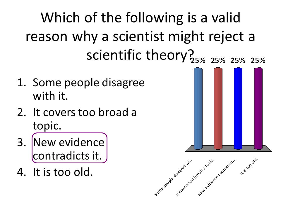Which of the following is a valid reason why a scientist might reject a scientific theory? 1.Some people disagree with it. 2.It covers too broad a top