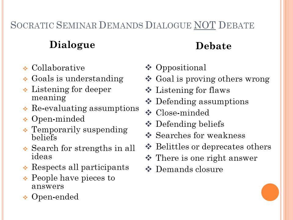 S OCRATIC S EMINAR D EMANDS D IALOGUE NOT D EBATE Dialogue  Collaborative  Goals is understanding  Listening for deeper meaning  Re-evaluating assumptions  Open-minded  Temporarily suspending beliefs  Search for strengths in all ideas  Respects all participants  People have pieces to answers  Open-ended Debate  Oppositional  Goal is proving others wrong  Listening for flaws  Defending assumptions  Close-minded  Defending beliefs  Searches for weakness  Belittles or deprecates others  There is one right answer  Demands closure