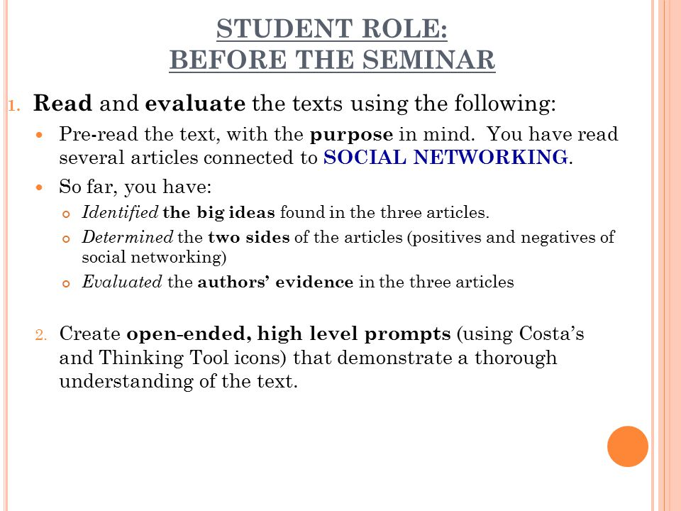 STUDENT ROLE: BEFORE THE SEMINAR 1.