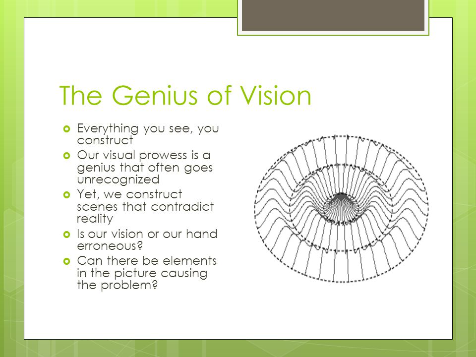 The Genius of Vision  Everything you see, you construct  Our visual prowess is a genius that often goes unrecognized  Yet, we construct scenes that contradict reality  Is our vision or our hand erroneous.