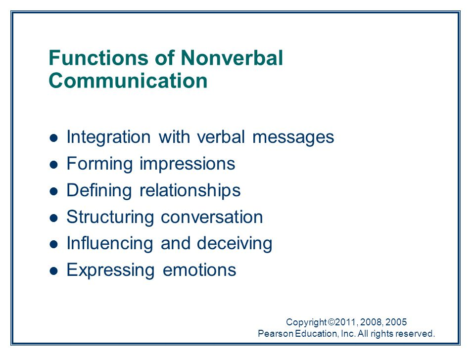Copyright ©2011, 2008, 2005 Pearson Education, Inc. All rights reserved. Functions of Nonverbal Communication Integration with verbal messages Forming