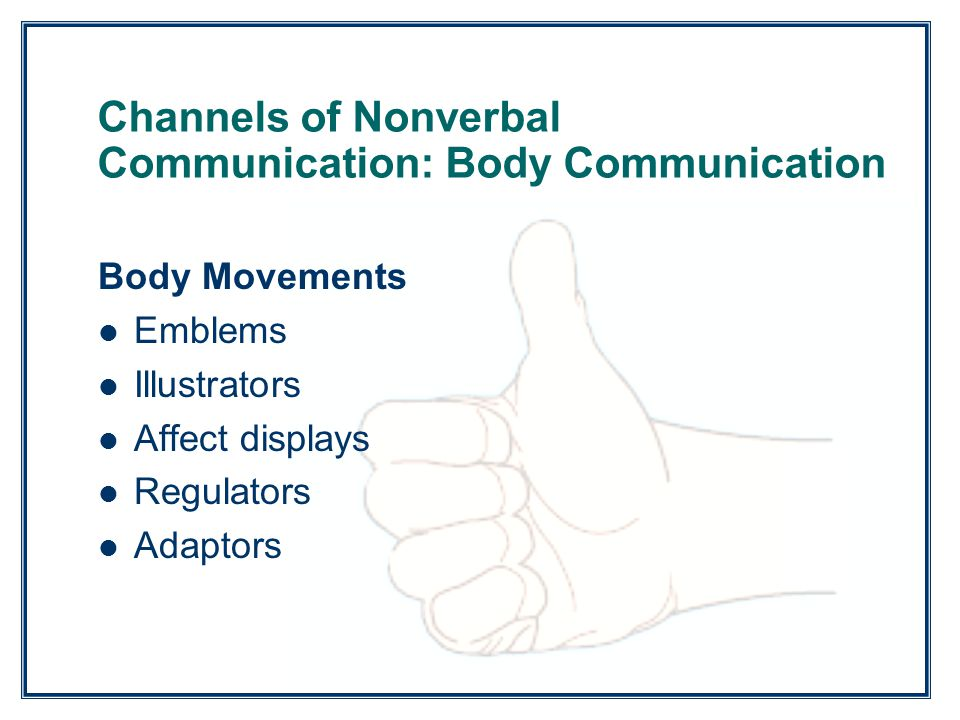Copyright ©2011, 2008, 2005 Pearson Education, Inc. All rights reserved. Channels of Nonverbal Communication: Body Communication Body Movements Emblem