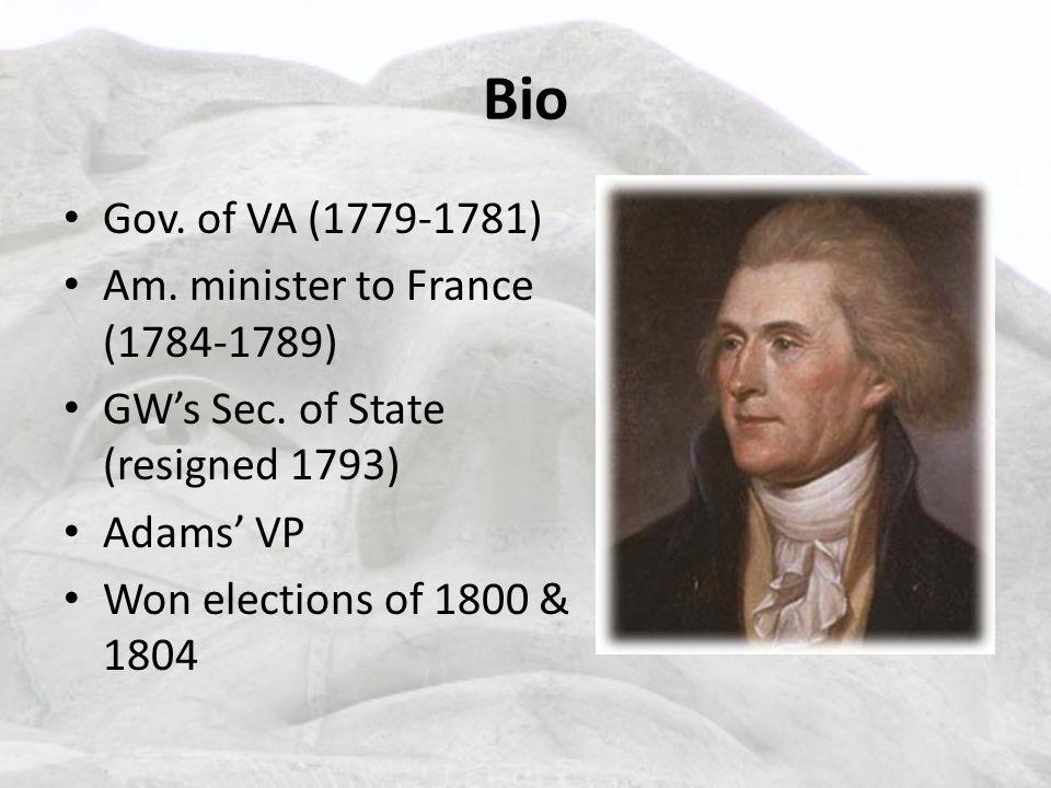 Bio Gov. of VA (1779-1781) Am. minister to France (1784-1789) GW's Sec.