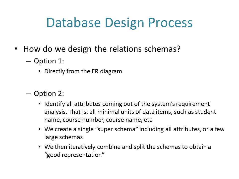 Database Design Process - continued During the design process, it is important to verify that the following holds: – The entire data is stored and can be represented – All constraints on the data are preserved, e.g., keys – No unnecessary redundancy – Queries over the database can be implemented efficiently