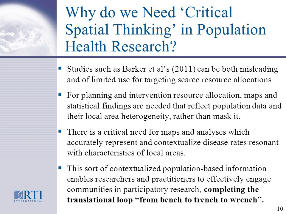 Why do we Need 'Critical Spatial Thinking' in Population Health Research.