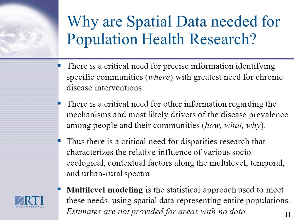 Why are Spatial Data needed for Population Health Research.