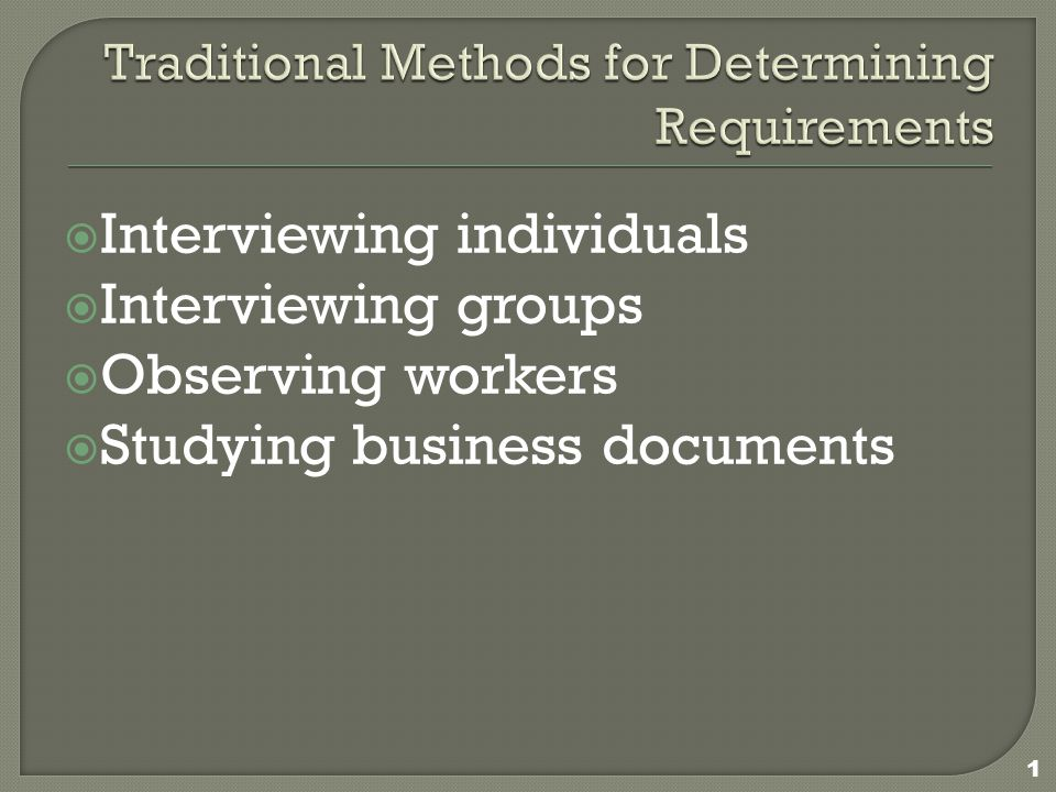  Interviewing individuals  Interviewing groups  Observing workers  Studying business documents 1