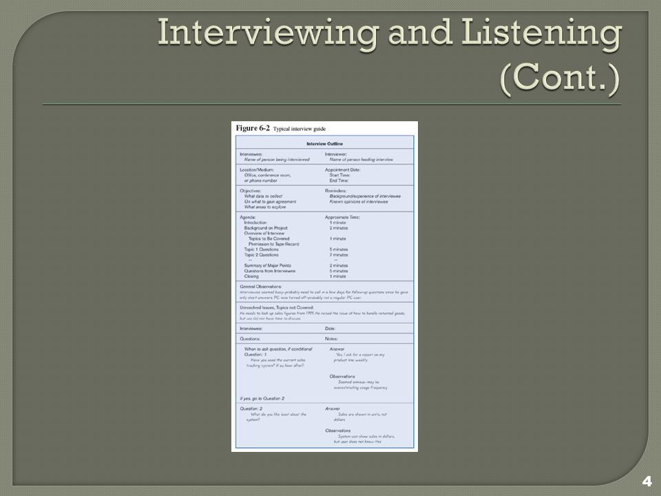  Each question in an interview guide can include both verbal and non-verbal information.