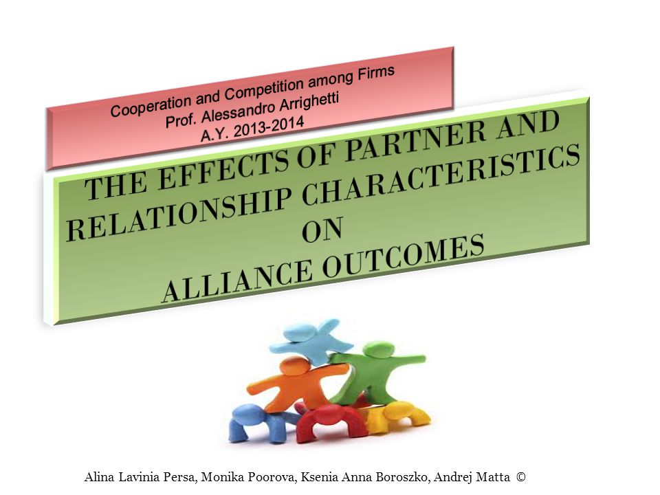 This paper examines the effects of partner and relationship characteristics on alliance outcomes.