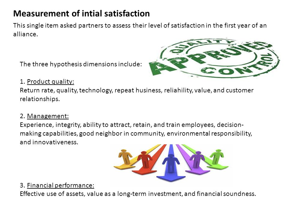 Measurement of intial satisfaction This single item asked partners to assess their level of satisfaction in the first year of an alliance.