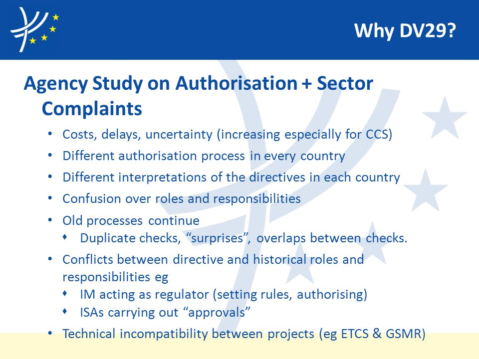 Why DV29? Agency Study on Authorisation + Sector Complaints Costs, delays, uncertainty (increasing especially for CCS) Different authorisation process