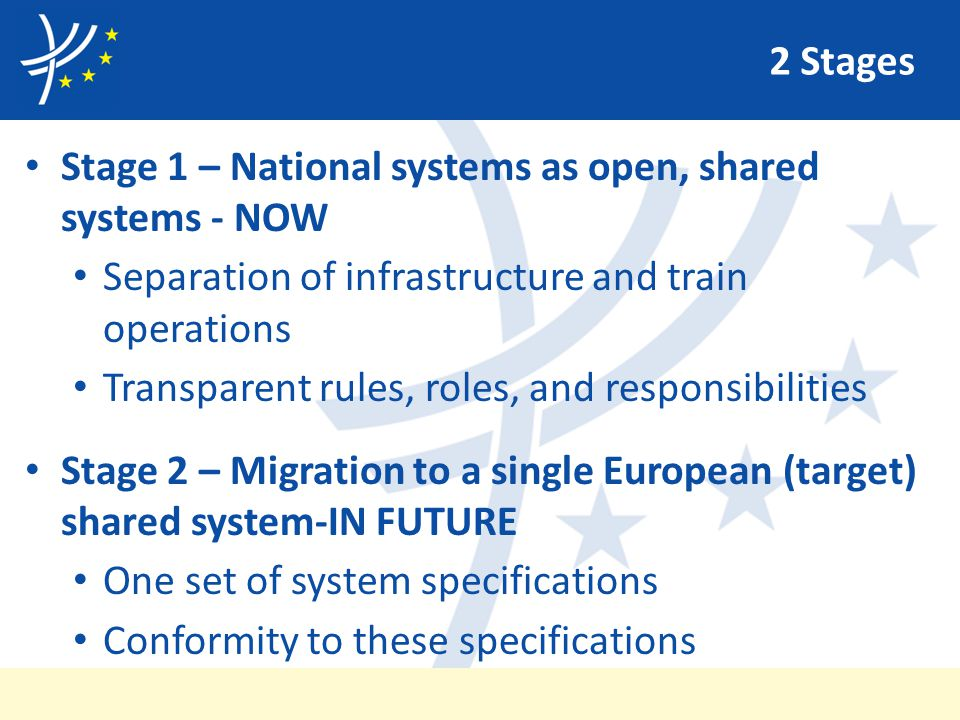 2 Stages Stage 1 – National systems as open, shared systems - NOW Separation of infrastructure and train operations Transparent rules, roles, and responsibilities Stage 2 – Migration to a single European (target) shared system-IN FUTURE One set of system specifications Conformity to these specifications