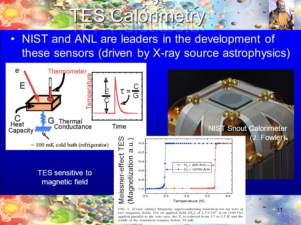 NIST and ANL are leaders in the development of these sensors (driven by X-ray source astrophysics) 11 NIST Snout Calorimeter (J.
