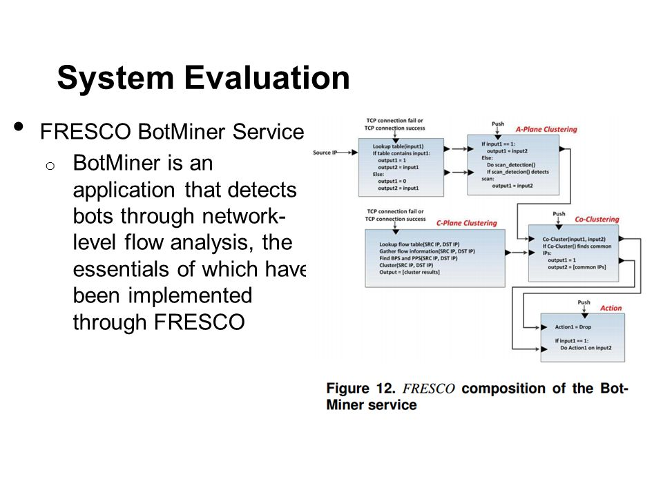 System Evaluation FRESCO BotMiner Service o BotMiner is an application that detects bots through network- level flow analysis, the essentials of which have been implemented through FRESCO