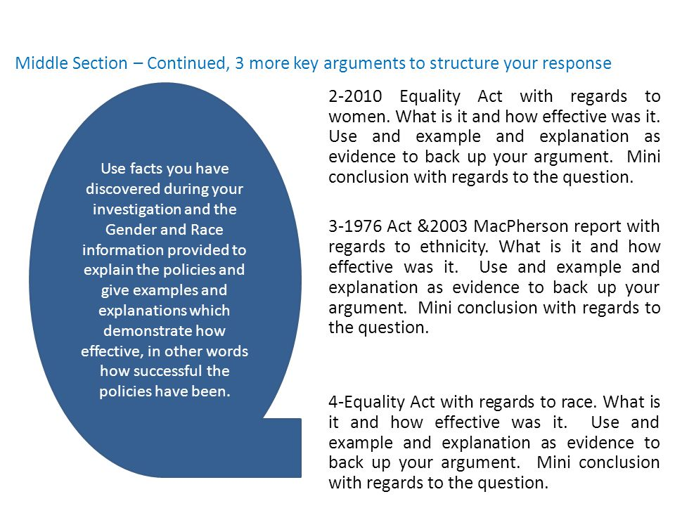 Middle Section – Continued, 3 more key arguments to structure your response 2-2010 Equality Act with regards to women.