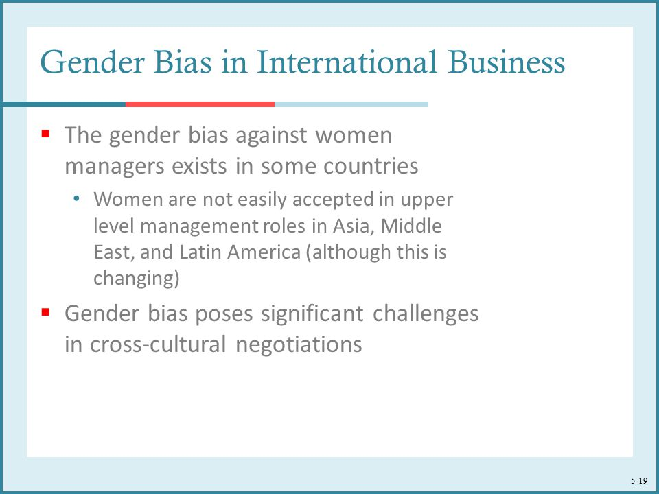 5-19 Gender Bias in International Business  The gender bias against women managers exists in some countries Women are not easily accepted in upper level management roles in Asia, Middle East, and Latin America (although this is changing)  Gender bias poses significant challenges in cross-cultural negotiations
