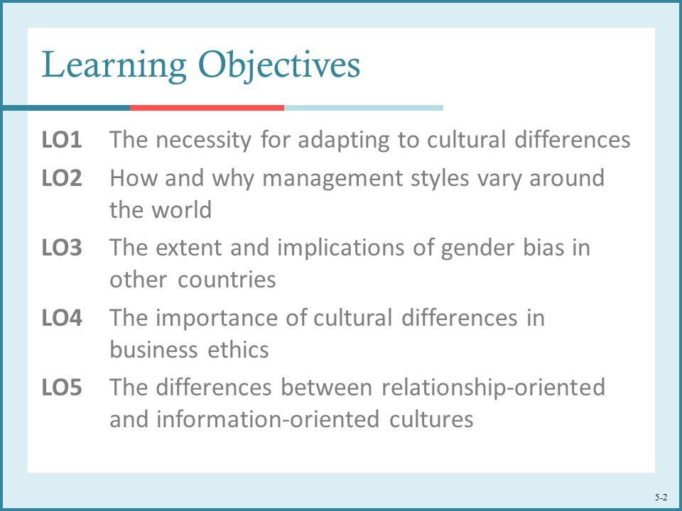 5-2 Learning Objectives LO1The necessity for adapting to cultural differences LO2 How and why management styles vary around the world LO3 The extent and implications of gender bias in other countries LO4 The importance of cultural differences in business ethics LO5 The differences between relationship-oriented and information-oriented cultures
