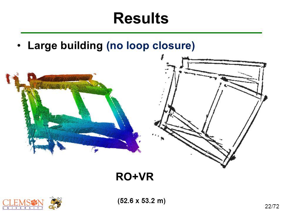 Results 22/72 (52.6 x 53.2 m) Large building (no loop closure) RO+VR