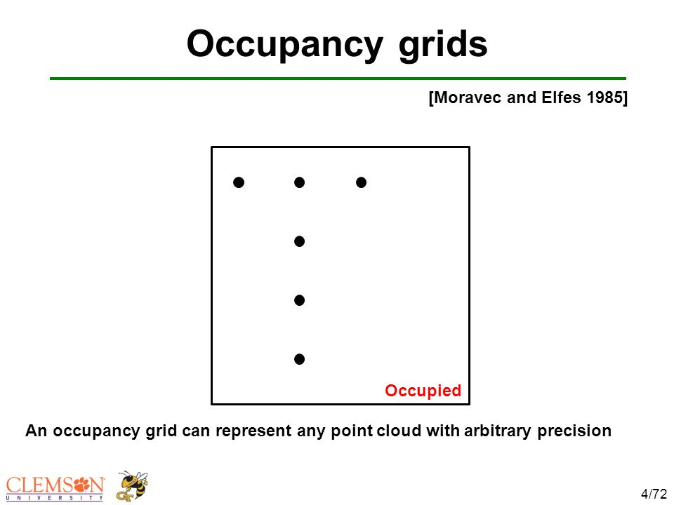 Occupancy grids 4/72 An occupancy grid can represent any point cloud with arbitrary precision [Moravec and Elfes 1985] Occupied