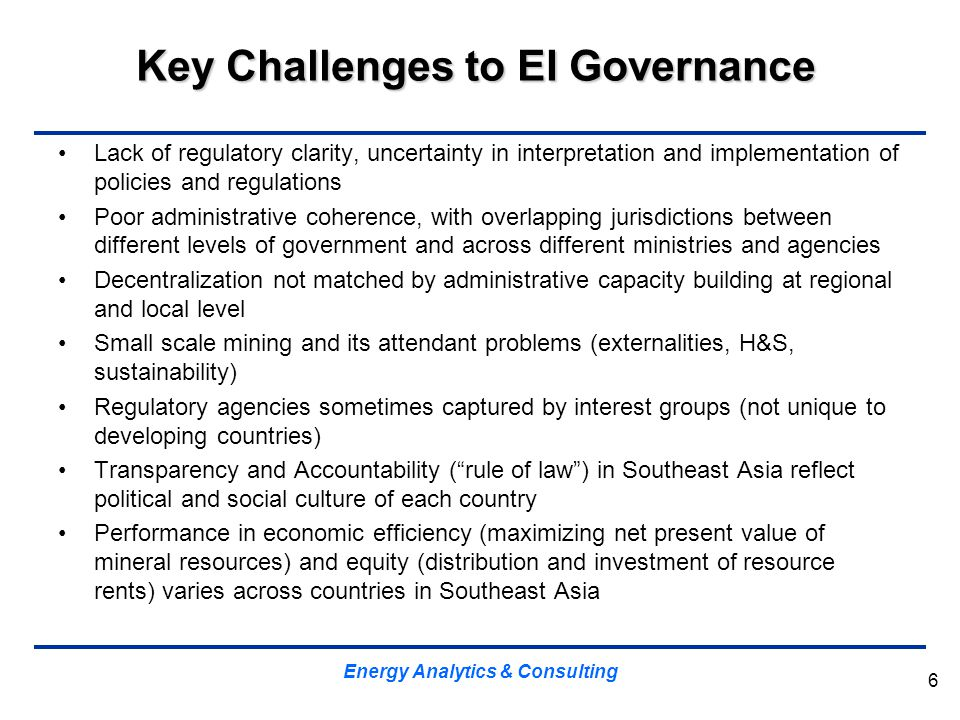 Key Challenges to EI Governance Lack of regulatory clarity, uncertainty in interpretation and implementation of policies and regulations Poor administ