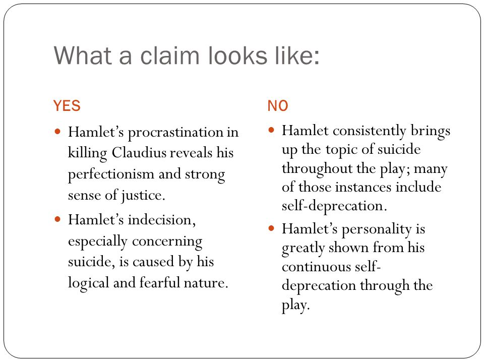 What a claim looks like: YESNO Hamlet's procrastination in killing Claudius reveals his perfectionism and strong sense of justice. Hamlet's indecision