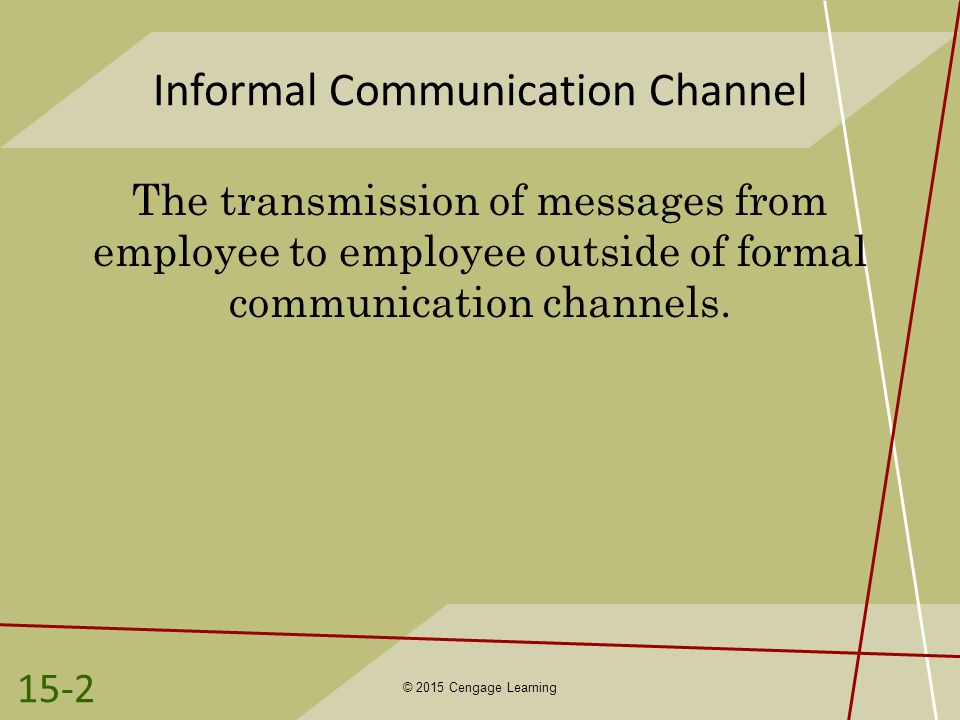Informal Communication Channel The transmission of messages from employee to employee outside of formal communication channels.