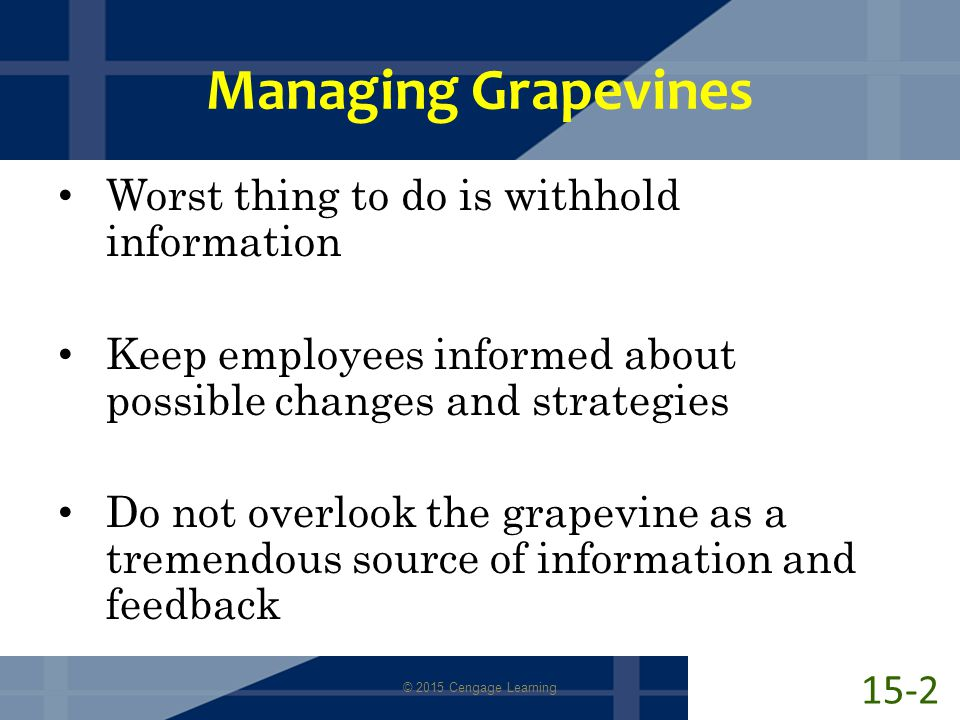 Managing Grapevines Worst thing to do is withhold information Keep employees informed about possible changes and strategies Do not overlook the grapevine as a tremendous source of information and feedback © 2015 Cengage Learning 15-2