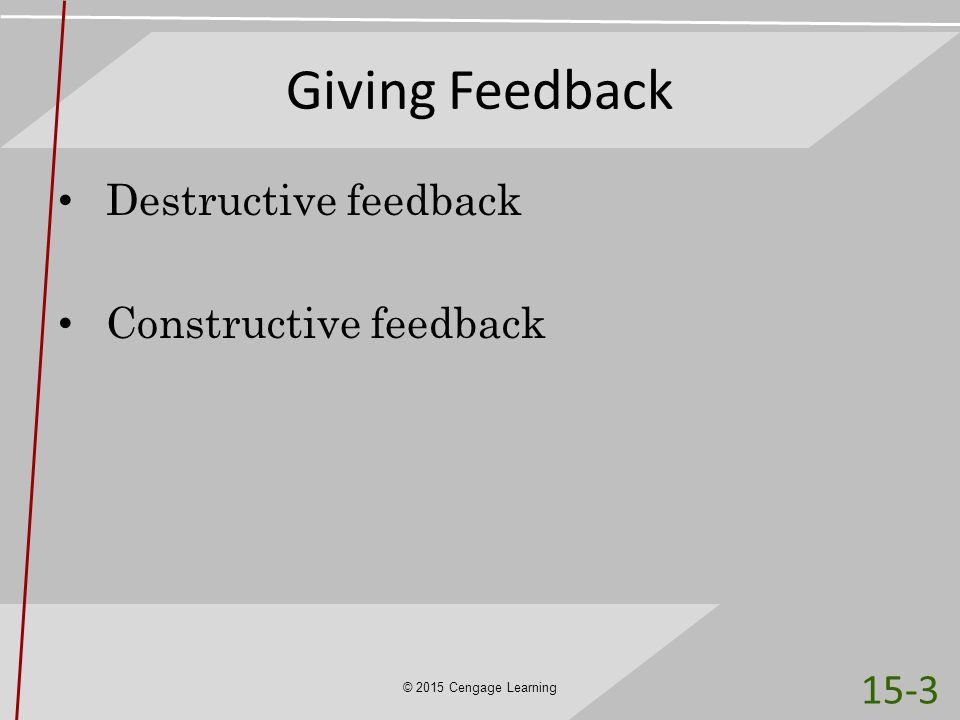 Giving Feedback Destructive feedback Constructive feedback © 2015 Cengage Learning 15-3
