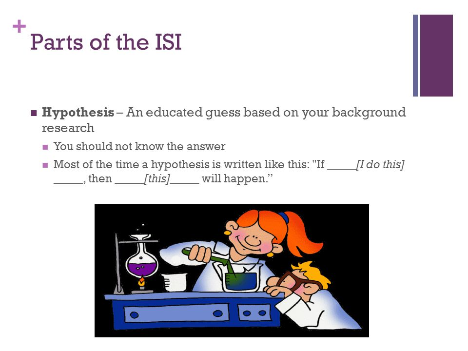 + Parts of the ISI Hypothesis – An educated guess based on your background research You should not know the answer Most of the time a hypothesis is wr