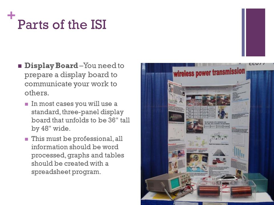 + Parts of the ISI Display Board –You need to prepare a display board to communicate your work to others. In most cases you will use a standard, three